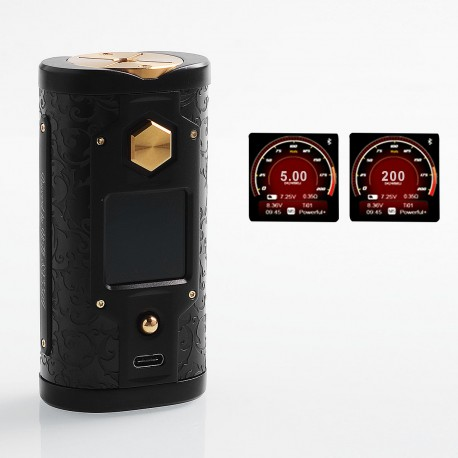 Authentic SXmini G Class 200W TC VW Variable Wattage Box Mod Limited Edition - Black + Gold, 5~200W, 2 x 18650