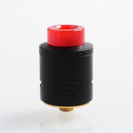 Authentic Hellvape Aequitas RDA Rebuildable Dripping Atomizer w/ BF Pin - Full Black, Stainless Steel, 24mm Diameter