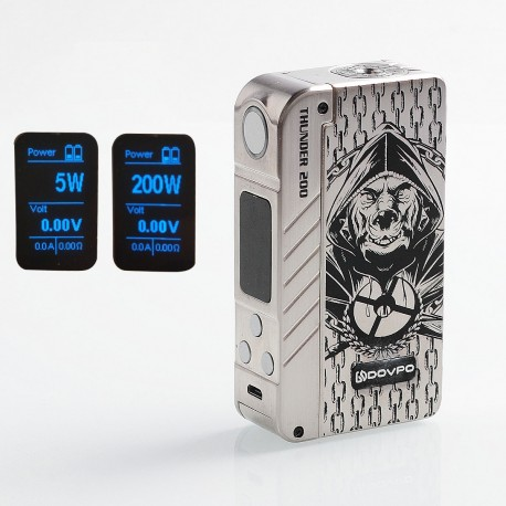 Authentic Dovpo Thunder 200W TC VW Variable Wattage Box Mod - Silver, Zinc Alloy, 5~200W, 2 x 18650