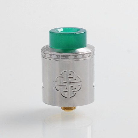 Authentic Hellvape Aequitas RDA Rebuildable Dripping Atomizer w/ BF Pin - Silver, Stainless Steel, 24mm Diameter