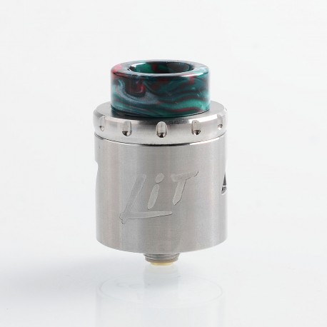 Authentic Vandy Vape Lit RDA Rebuildable Dripping Atomizer w/ BF Pin - Silver, Stainless Steel, 24mm Diameter