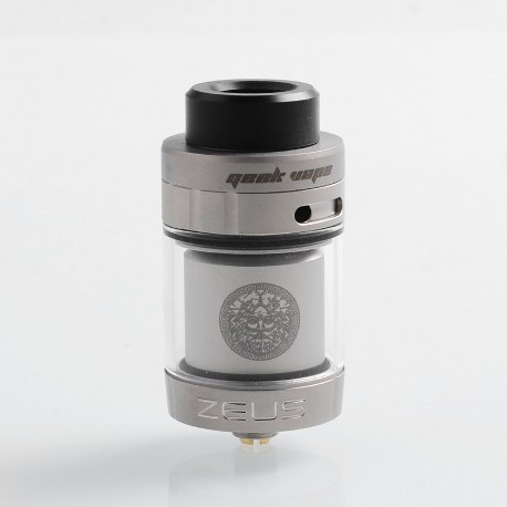 Authentic GeekVape Zeus Dual RTA Rebuildable Tank Atomizer Standard Edition - Silver, Stainless Steel, 4ml, 26mm Diameter