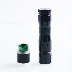 Aftermath V2 Style Mechanical Mod + Redemption Style RDA Kit - Green, Brass + Stainless Steel, 1 x 18650, 24mm Diameter