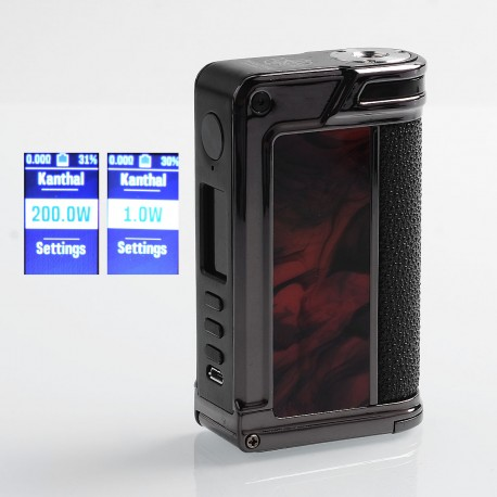 Authentic Lost Vape Paranormal DNA250C 200W TC VW Box Mod - Gun Metal + Scarlet Passion + Pearl Fish, 1~200W, 2 x 18650