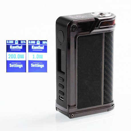 Authentic Lost Vape Paranormal DNA250C 200W TC VW Mod - Gun Metal + Chopped Carbon Fiber + Black Grey Kevlar, 1~200W, 2 x 18650
