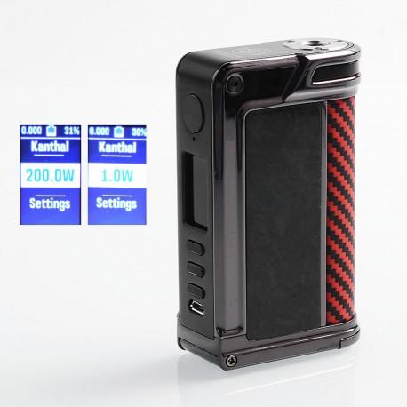 Authentic Lost Vape Paranormal DNA250C 200W TC VW Mod - Gun Metal + Chopped Carbon Fiber + Red Black Kevlar, 1~200W, 2 x 18650