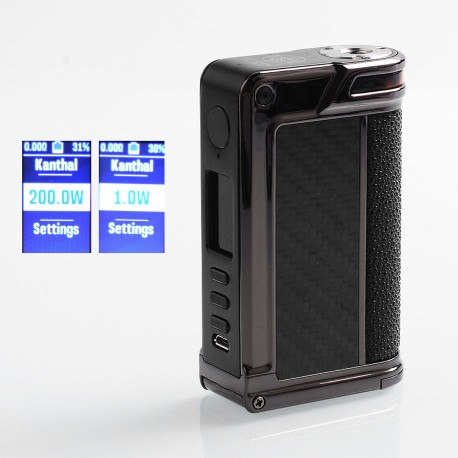 Authentic Lost Vape Paranormal DNA250C 200W TC VW Box Mod - Gun Metal + Wood + Carbon Fiber + Pearl Fish, 1~200W, 2 x 18650