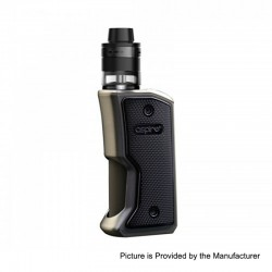 Authentic Aspire Feedlink Squonk Box Mod + Revvo Boost Tank Kit - Gun Metal + Chrome, 1 x 18650, 7ml + 2ml