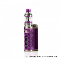 Authentic Eleaf iStick Pico Resin 75W TC VW Variable Wattage Box Mod + Melo 4 Tank Kit - Purple, 1~75W, 1 x 18650, 2ml