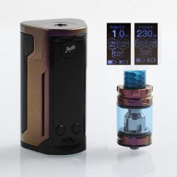 Authentic Wismec Reuleaux RX GEN3 Dual 230W TC VW Box Mod + GNOME King Tank Kit - Gloss Purple Brown, 1~230W, 2 x 18650, 5.8ml