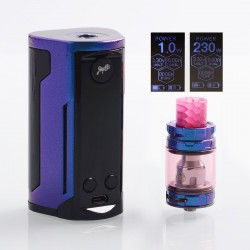 Authentic Wismec Reuleaux RX GEN3 Dual 230W TC VW Box Mod + GNOME King Tank Kit - Gloss Purple Blue, 1~230W, 2 x 18650, 5.8ml