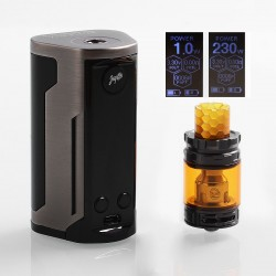 Authentic Wismec Reuleaux RX GEN3 Dual 230W TC VW Box Mod + GNOME King Tank Kit - Brush Gun Metal, 1~230W, 2 x 18650, 5.8ml