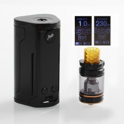 Authentic Wismec Reuleaux RX GEN3 Dual 230W TC VW Box Mod + GNOME King Tank Kit - Gloss Black, 1~230W, 2 x 18650, 5.8ml
