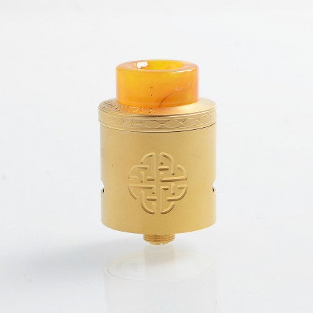 Authentic Hellvape Aequitas RDA Rebuildable Dripping Atomizer w/ BF Pin - Gold, Stainless Steel, 24mm Diameter