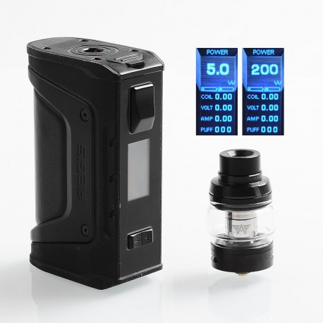 Authentic GeekVape Aegis Legend Mod 200W TC VW Box Mod + Aero Mesh Version Tank Kit - Stealth Black, 5~200W, 2 x 18650, 5ml