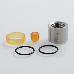 SXK Replacement Drip Tip + Tank Tube Kit for KF Prime Style RTA - Yellow + Silver, PEI + 316 Stainless Steel