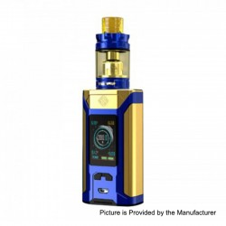 Authentic Wismec SINUOUS RAVAGE230 230W TC VW Box Mod + GNOME King Tank Kit - Gold + Blue, 1~230W, 2 x 18650, 5.8ml