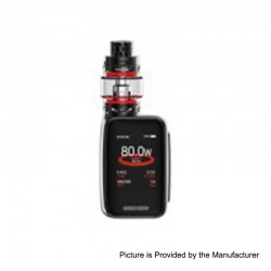 Authentic SMOKTech SMOK X-Priv Baby 80W 2300mAh TC VW Box Mod + TFV12 Big Baby Prince Tank Kit - Matte Black, 1~80W, 6ml