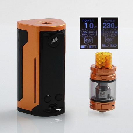 Authentic Wismec Reuleaux RX GEN3 Dual 230W TC VW Box Mod + GNOME King Tank Kit - Gloss Gold, 1~230W, 2 x 18650, 5.8ml