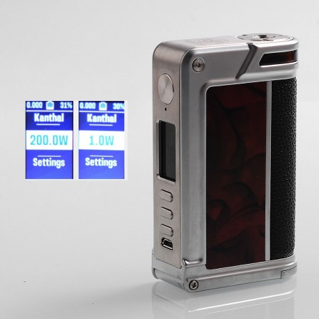Authentic Lost Vape Paranormal DNA250C 200W TC VW Box Mod - Silver + Scarlet Passion + Pearl Fish, 1~200W, 2 x 18650