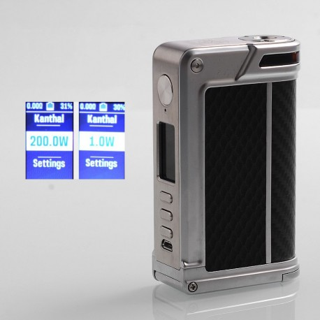 Authentic Lost Vape Paranormal DNA250C 200W TC VW Box Mod - Silver + Black Rhombus + Black Grey Kevlar, 1~200W, 2 x 18650