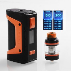 Authentic GeekVape Aegis Legend Mod 200W TC VW Box Mod + Aero Mesh Version Tank Kit - Black + Orange, 5~200W, 2 x 18650, 5ml