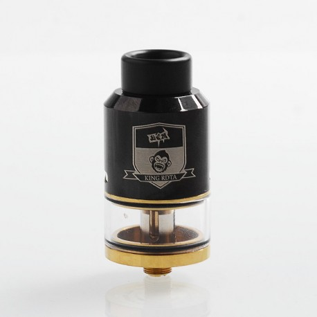 Authentic Coil Father King RDTA Rebuildable Dripping Tank Atomizer - Black, Stainless Steel + Brass, 3.5ml, 25mm Diameter