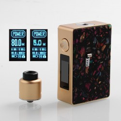 Authentic Asmodus Spruzza 80W TC VW Squonk Box Mod Mosaic Edition + Oni-One RDA Kit - Gold + Black, 5~80W, 1 x 18650, 6ml