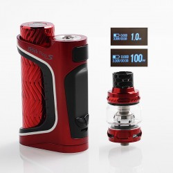 Authentic Eleaf iStick Pico S 100W TC VW Variable Wattage Box Mod + ELLO VATE Tank Kit - Red, 1~100W, 1 x 18650 / 21700, 6.5ml