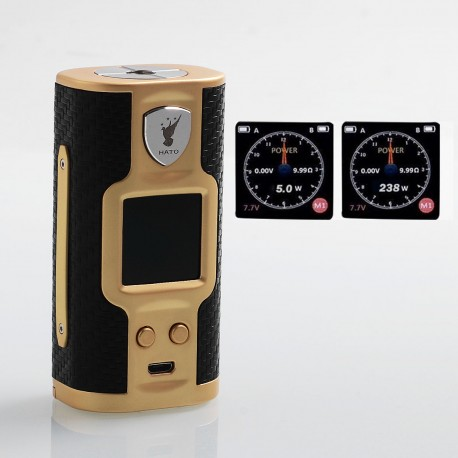 Authentic Soomook Hato K-One 238W TC VW Variable Wattage Box Mod - Gold, Zinc Alloy, 5~238W, 2 x 18650