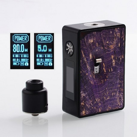 Authentic Asmodus Spruzza 80W TC VW Variable Wattage Squonk Box Mod + Oni-One RDA Kit - Purple, 5~80W, 1 x 18650, 6ml