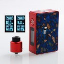 Authentic Asmodus Spruzza 80W TC VW Squonk Box Mod Mosaic Edition + Oni-One RDA Kit - Blue + Red, 5~80W, 1 x 18650, 6ml