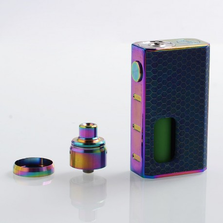 Authentic Wismec Luxotic 100W Squonk Box Mod + Tobhino BF RDA Kit - Blue Honeycomb, 7.5ml, 1 x 18650, 22mm Diameter
