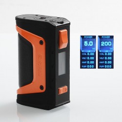 Authentic GeekVape Aegis Legend Mod 200W TC VW Variable Wattage Box Mod - Black + Orange, 5~200W, 2 x 18650
