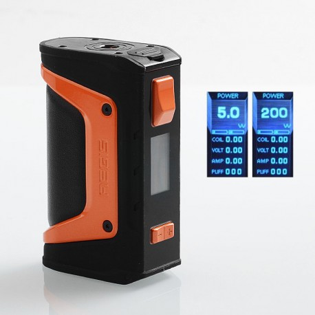 Authentic GeekVape Aegis Legend 200W TC VW Variable Wattage Box Mod - Black + Orange, 5~200W, 2 x 18650