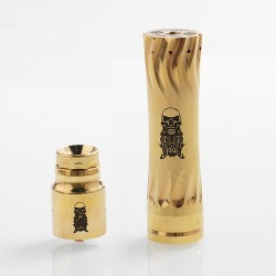 AV Complyfe Takeover Style Hybrid Mechanical Mod + Battle Style RDA Kit - Gold, Brass, 1 x 18650, 25mm Diameter