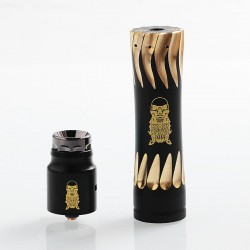 AV Complyfe Takeover Style Hybrid Mechanical Mod + Battle Style RDA Kit - Black, Brass, 1 x 18650, 25mm Diameter