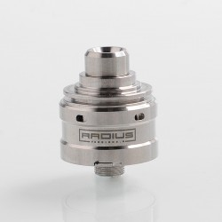 Radius V2 Style RDA Rebuildable Dripping Atomizer w/ BF Pin - Silver, Stainless Steel, 22mm Diameter