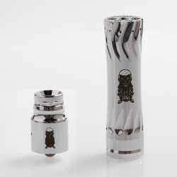 AV Complyfe Takeover Style Hybrid Mechanical Mod + Battle Style RDA Kit - Silver, Brass, 1 x 18650, 25mm Diameter