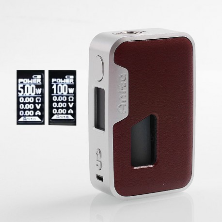 Authentic Arctic Dolphin Anita 100W TC VW Squonk Box Mod - Silver Frame + Red Leather, 5~100W, 1 x 18650 / 20700 / 21700