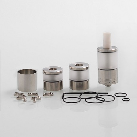Dvarw V2 Style MTL RTA Atomizer w/ Airflow Control Sets + Spare Tank Sets - Silver, 316 Stainless Steel, 5ml, 22mm Diameter