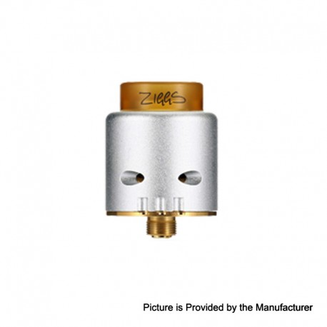 Authentic ADVKEN Ziggs V2 RDA Rebuildable Dripping Atomizer w/ 810 Drip Tip - Silver, Stainless Steel + Aluminum, 24mm Diameter