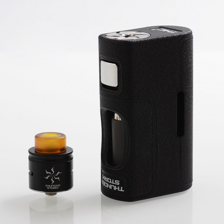 Authentic THC Thunder Storm Squonk Mechanical Box Mod + RDA Kit - Black, PPS + SS + Aluminum, 8ml, 1 x 18650 / 21700 / 20700
