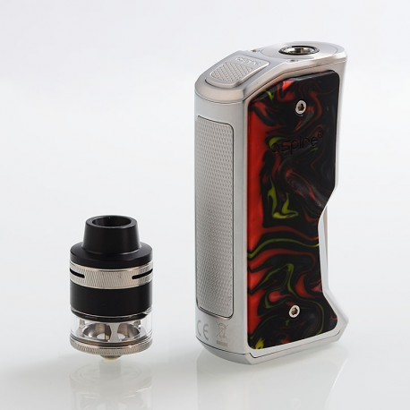 Authentic Aspire Feedlink Squonk Box Mod + Revvo Boost Tank Kit - Silver + Sunset Red, 1 x 18650, 7ml + 2ml
