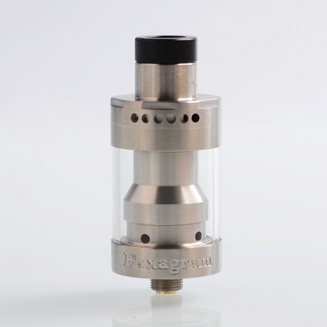 Authentic Thunderhead Creations Hexagram RDTA Rebuildable Dripping Tank Atomizer - Silver, Stainless Steel, 2.5ml, 22mm Diameter