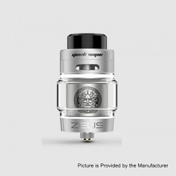 Authentic GeekVape Zeus Dual RTA Rebuildable Tank Atomizer Standard Edition - Polish Silver, Stainless Steel, 4ml, 26mm Diameter