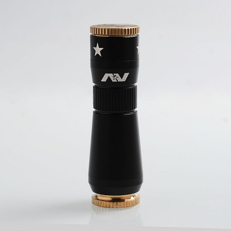 AV Workman Style Hybrid Mechanical Mod - Black, Aluminum + Brass, 1 x 18650, 28mm Diameter