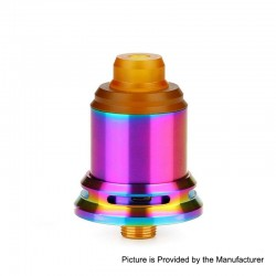 Authentic Arctic Dolphin Rexx RDA Rebuildable Dripping Atomizer w/ BF Pin - Rainbow, Stainless Steel, 18mm Diameter