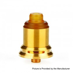Authentic Arctic Dolphin Rexx RDA Rebuildable Dripping Atomizer w/ BF Pin - Gold, Stainless Steel, 18mm Diameter