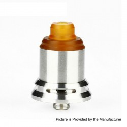 Authentic Arctic Dolphin Rexx RDA Rebuildable Dripping Atomizer w/ BF Pin - Silver, Stainless Steel, 18mm Diameter